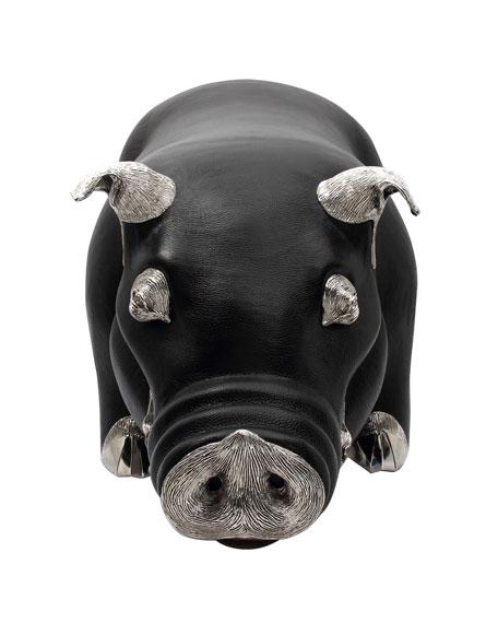Lotus Arts de Vivre Brown Leather Pig Stool