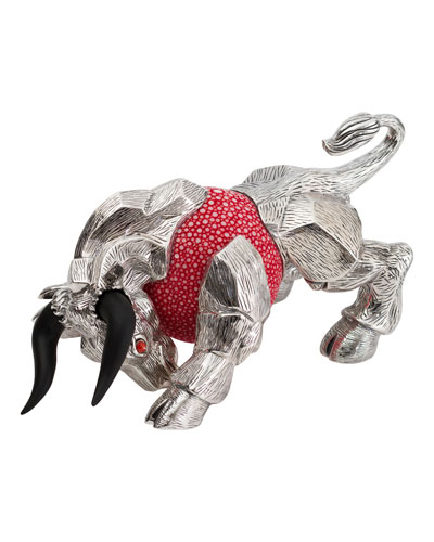 Pink Galuchat Bull Paperweight