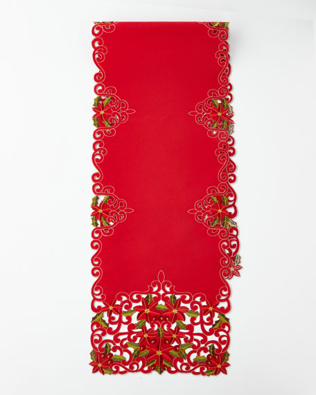 SFERRA Poinsettia Table Runner