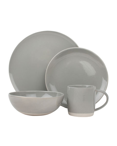 Canvas Home Llc Shell Bisque Grey 16-Piece Dinnerware Set