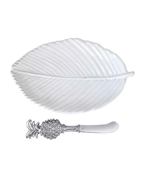 Mariposa Leaf Ceramic Plate and Pineapple Spreader