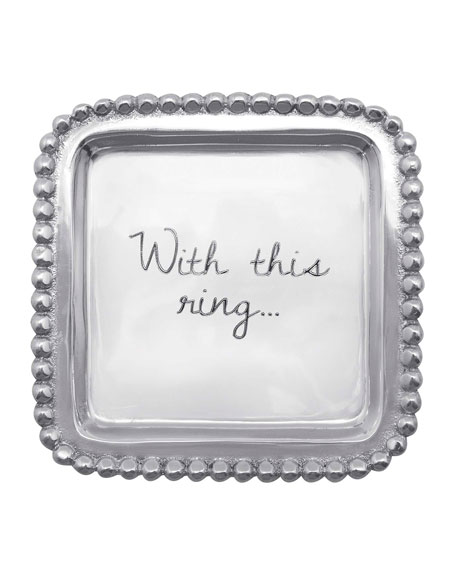 Mariposa With This Ring Beaded Sticky Note Tray