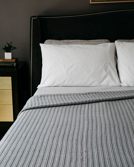 Evangeline Linens Cable Knit Herringbone Cotton Twin Blanket, Classic Gray