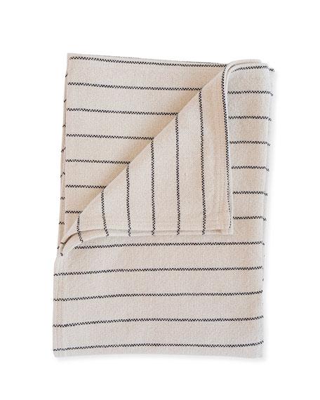 Evangeline Linens Cotton Pinstripe Throw, Black
