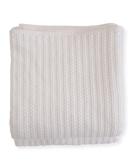 Evangeline Linens Cable Knit Herringbone Cotton Twin Blanket, Bright White