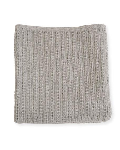 Evangeline Linens Cable Knit Herringbone Cotton Blanket, Classic Gray