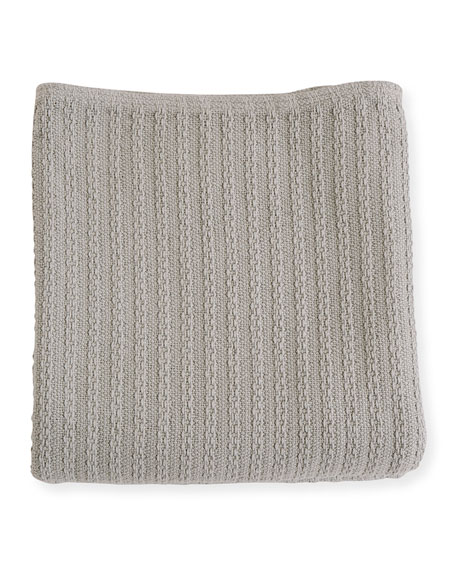 Evangeline Linens Cable Knit Herringbone Cotton King Blanket, Classic Gray