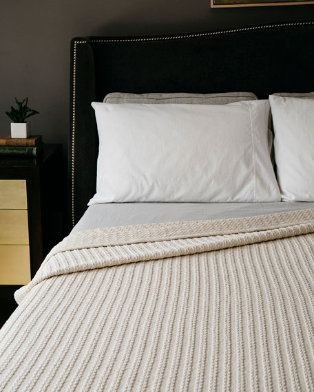 Evangeline Linens Cable Knit Herringbone Cotton Twin Blanket, Natural