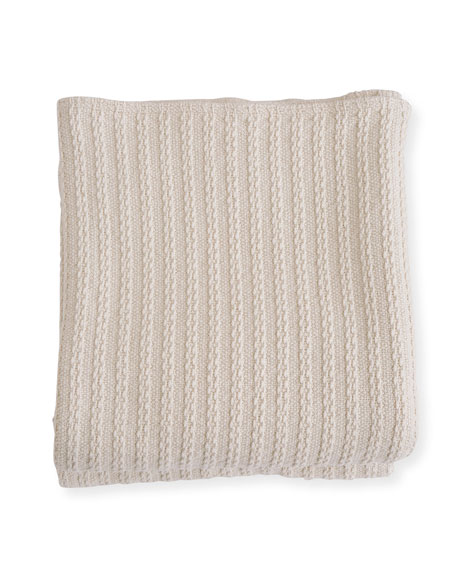 Evangeline Linens Cable Knit Herringbone Cotton Blanket, Natural