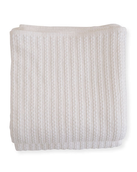 Evangeline Linens Cable Knit Herringbone Cotton King Blanket, Bright White