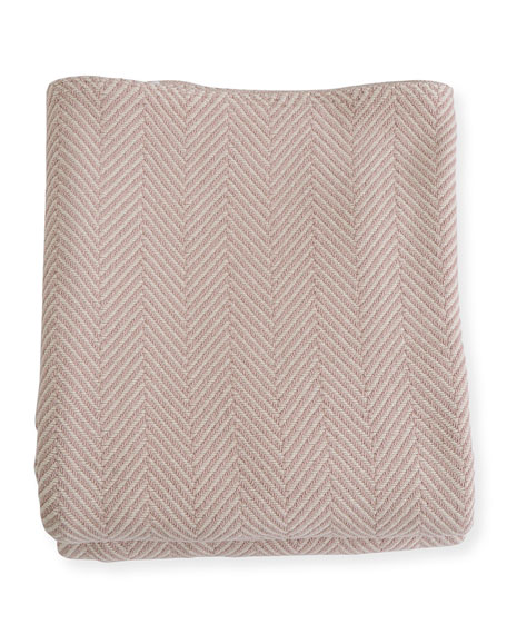 Evangeline Linens Herringbone Cotton King Blanket, Blush/Natural