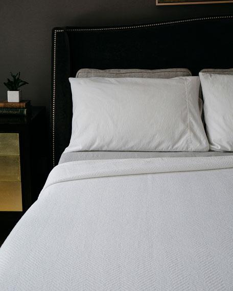 Evangeline Linens Herringbone Cotton Twin Blanket, Bright White