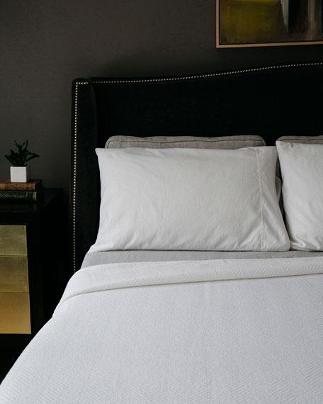 Evangeline Linens Herringbone Cotton Blanket, Bright White