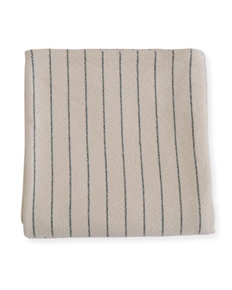 Evangeline Linens Pinstripe Herringbone Cotton Blanket, Midnight Blue