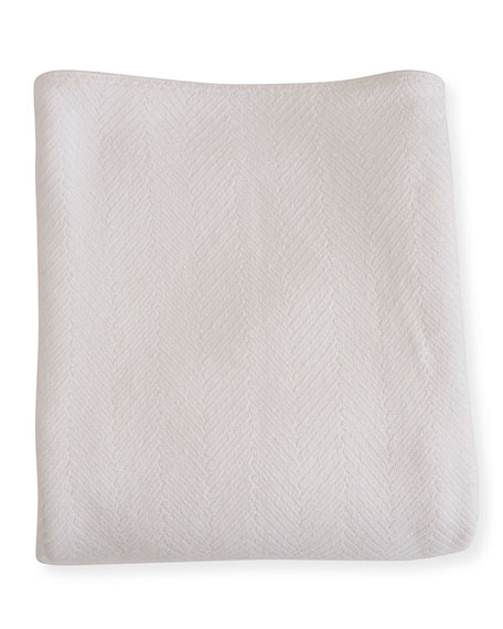 Evangeline Linens Herringbone Cotton King Blanket, Bright White