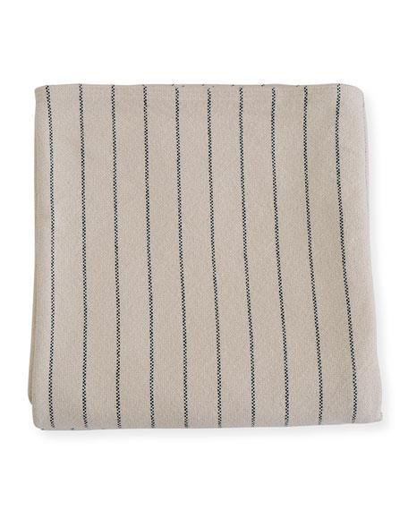 Evangeline Linens Pinstripe Herringbone Cotton Twin Blanket, Midnight Blue