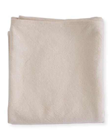 Evangeline Linens Simple Herringbone Cotton Twin Blanket, Natural
