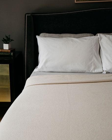 Evangeline Linens Simple Herringbone Cotton King Blanket, Natural
