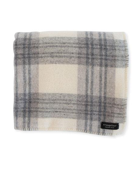 Evangeline Linens Plaid Merino Wool Blanket, Cream Ledge