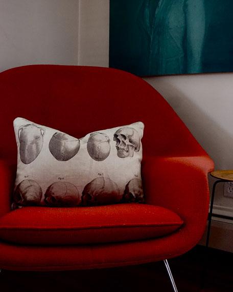 Evangeline Linens Skull Figures Pillow
