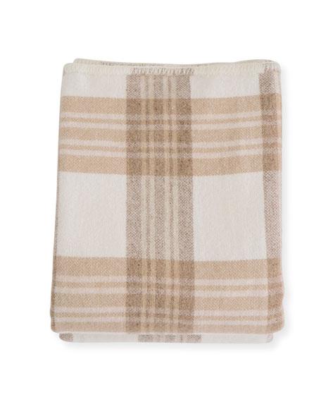 Evangeline Linens Plaid Merino Wool Blanket, Harvest Plaid
