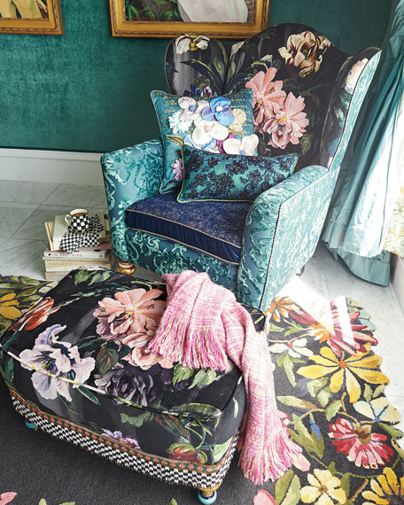 Image 2 of 6: MacKenzie-Childs Moonlight Garden Off The Record Wing Chair