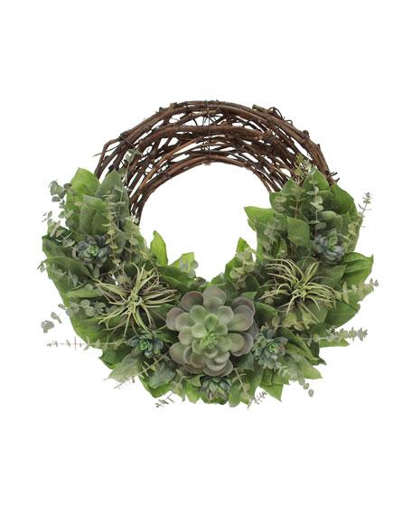 Floral Treasure Rustic Succulents Wreath