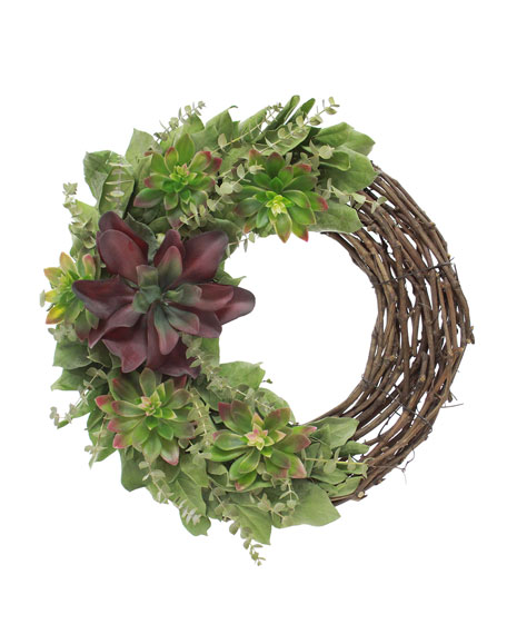 Floral Treasure Rustic Succulents Wreath