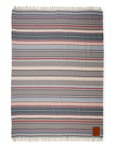 Loewe Striped Wool/Cotton Blanket w/ Fringed Ends
