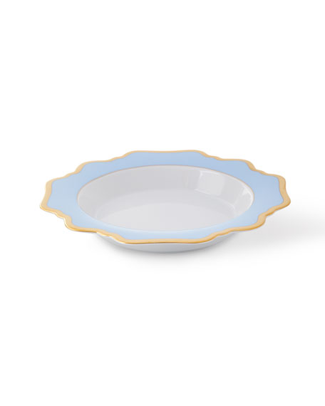 Anna Weatherley Sky Blue Rimmed Soup Bowl