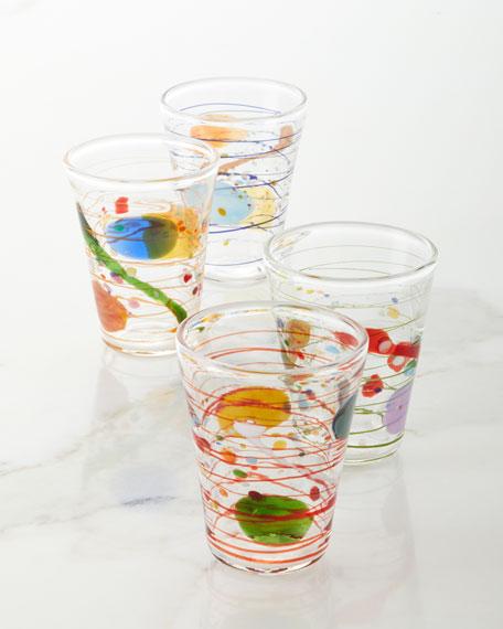 Massimo Lunardon Multicolor Swirl Water Glasses, Set of 4
