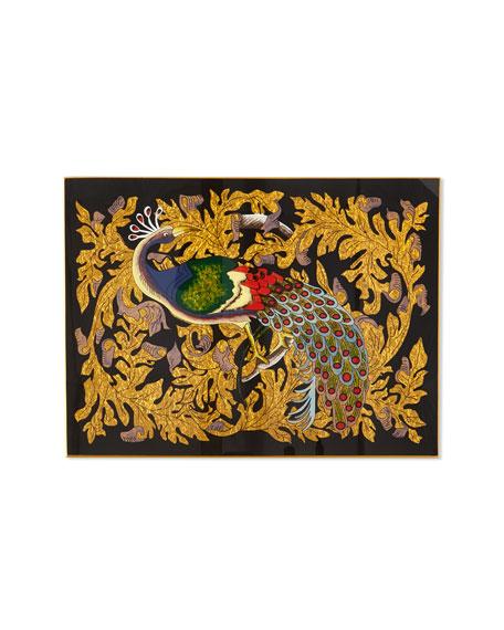 Nomi K Golden Leaf Peacock Glass Placemat