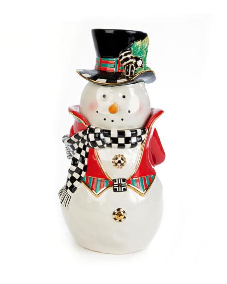 MacKenzie-Childs Top Hat Snowman Cookie Jar