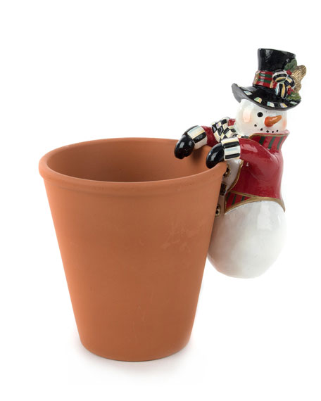MacKenzie-Childs Top Hat Snowman Pot Climber