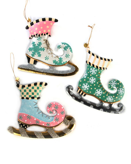 MacKenzie-Childs Home Sweet Snow Skate Ornaments, Set of 3