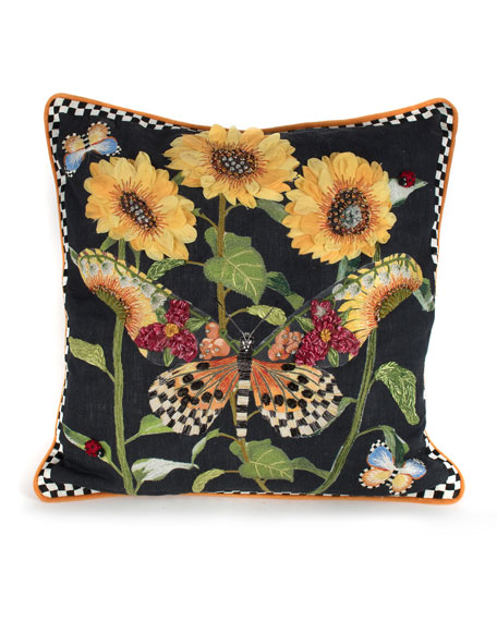 MacKenzie-Childs Monarch Butterfly Square Pillow