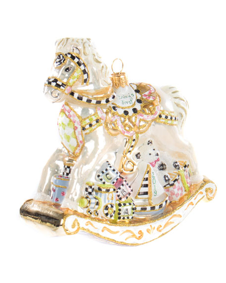 MacKenzie-Childs Baby's First Carousel Horse Glass Ornament