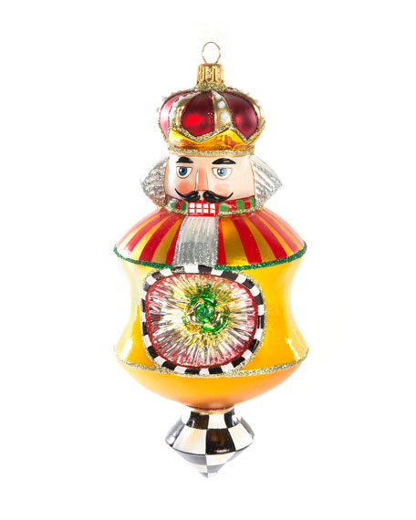 MacKenzie-Childs Nutcracker Reflector Gold Glass Ornament