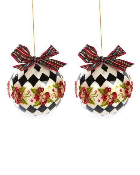 MacKenzie-Childs Capiz Harlequin Poinsettia Ball Ornaments, Set of 2
