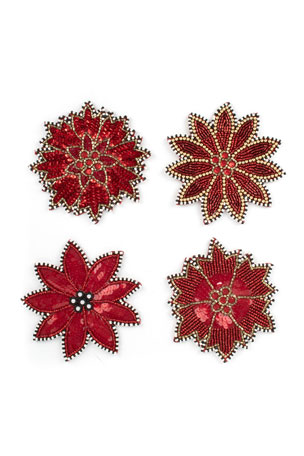 MacKenzie-Childs Poinsettia Beaded Coasters, Set of 4