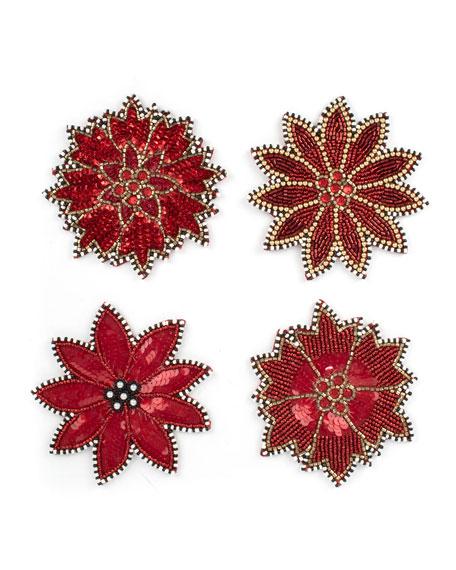 MacKenzie-Childs Poinsettia Beaded Coasters, Set of 4