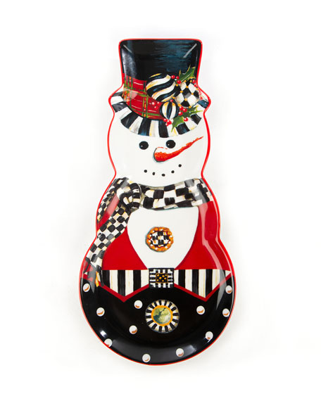 MacKenzie-Childs Top Hat Snowman Cookie Plate