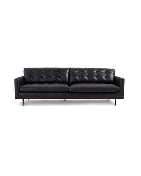 "Gamble Leather Sofa, 89"""