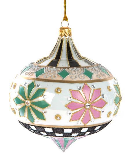 MacKenzie-Childs Home Sweet Snow Glass Ornament