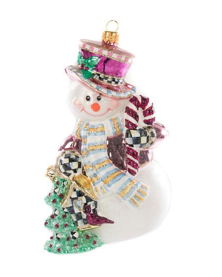 MacKenzie-Childs Home Sweet Snowman Glass Ornament