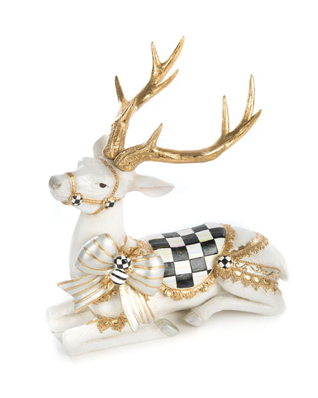 MacKenzie-Childs White Bow Tie Resting Deer