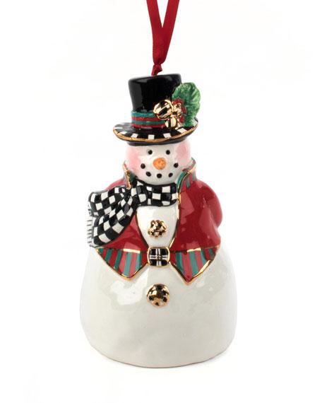 MacKenzie-Childs Top Hat Snowman Bell Ornament
