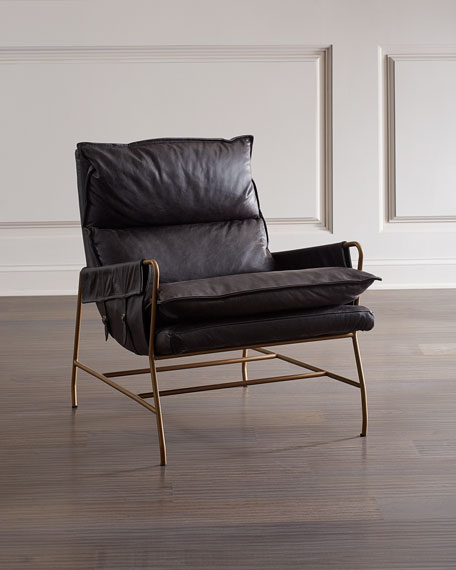 Image 1 of 3: Aria Leather Lounge Chair