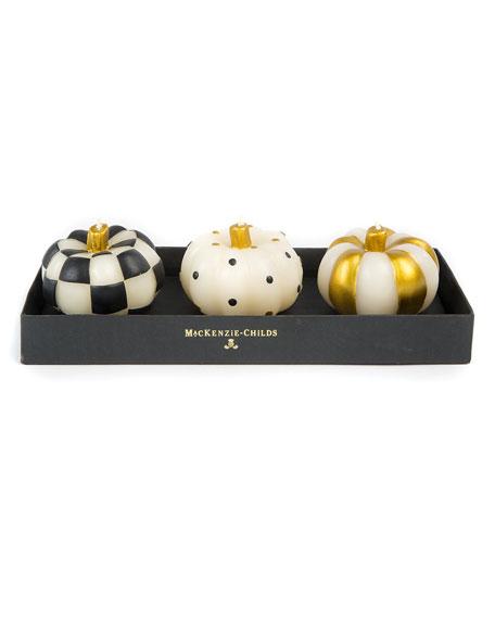 MacKenzie-Childs Mini Pumpkin Candles, Set of 3
