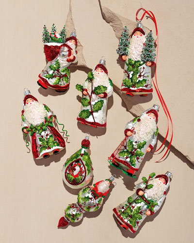 Santa Holding Evergreens Ornament